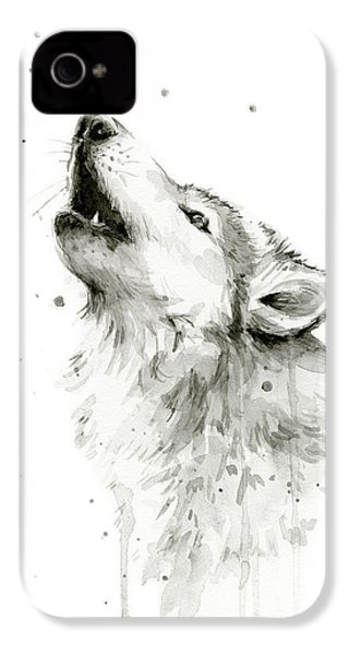 Howling Wolf Watercolor IPhone 4 Case