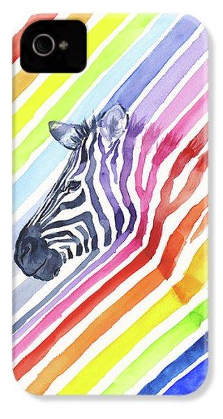 Rainbow Zebra Pattern IPhone 4 Case by Olga Shvartsur