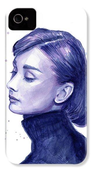 Audrey Hepburn Portrait IPhone 4 Case by Olga Shvartsur