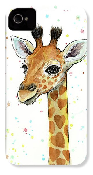Baby Giraffe Watercolor With Heart Shaped Spots IPhone 4 Case by Olga Shvartsur