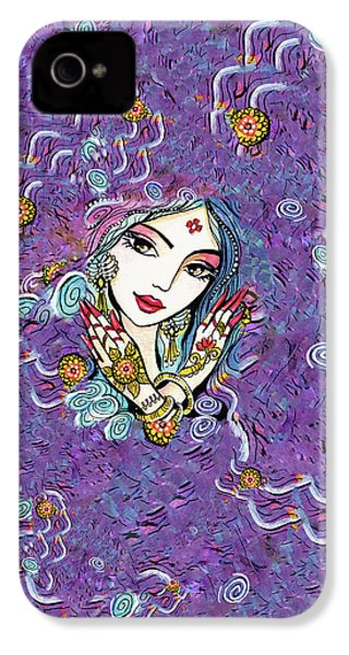 IPhone 4 Case featuring the painting Hands Of India by Eva Campbell