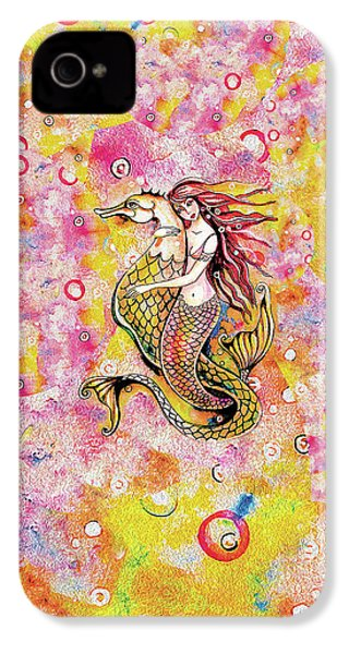 IPhone 4 Case featuring the painting Black Sea Mermaid by Eva Campbell