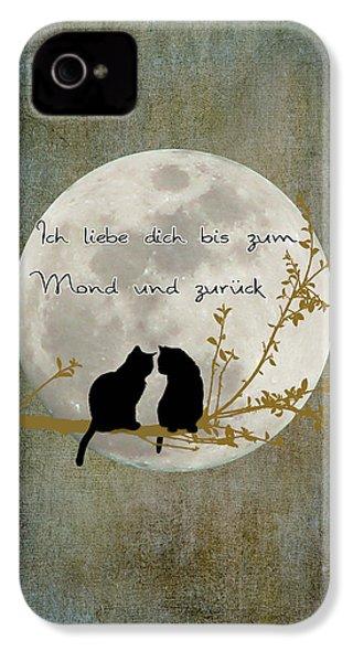 IPhone 4 Case featuring the digital art Ich Liebe Dich Bis Zum Mond Und Zuruck  by Linda Lees