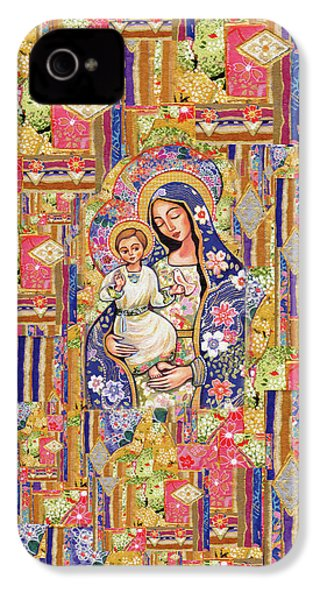 IPhone 4 Case featuring the painting Panagia Eleousa by Eva Campbell