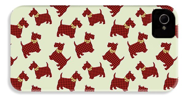IPhone 4 Case featuring the mixed media Scottie Dog Plaid by Christina Rollo