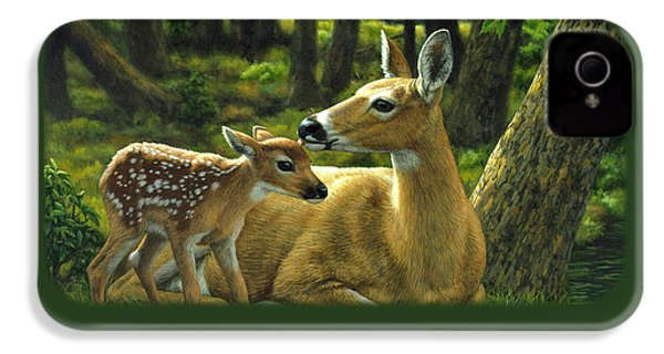 Whitetail Deer - First Spring IPhone 4 Case by Crista Forest