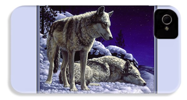 Wolf Painting - Night Watch IPhone 4 Case by Crista Forest