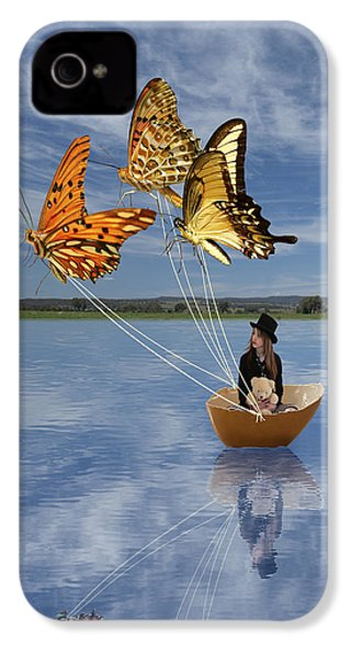 Butterfly Sailing IPhone 4 Case by Linda Lees