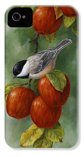 Bird Painting - Apple Harvest Chickadees IPhone 4 Case