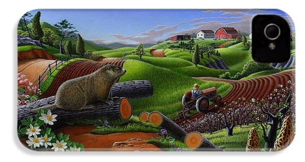 Farm Folk Art - Groundhog Spring Appalachia Landscape - Rural Country Americana - Woodchuck IPhone 4 / 4s Case by Walt Curlee