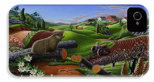 Farm Folk Art - Groundhog Spring Appalachia Landscape - Rural Country Americana - Woodchuck IPhone 4 Case