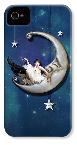 IPhone 4 Case featuring the digital art Paper Moon by Linda Lees