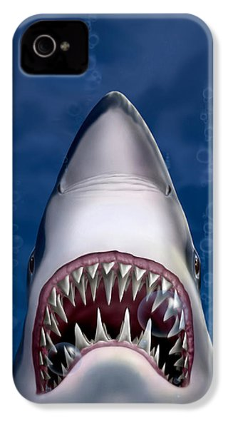 Jaws Great White Shark Art IPhone 4 Case by Walt Curlee