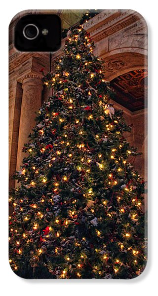 IPhone 4 Case featuring the photograph Astor Hall Christmas by Jessica Jenney