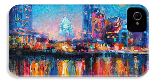 Austin Art Impressionistic Skyline Painting #2 IPhone 4 / 4s Case by Svetlana Novikova
