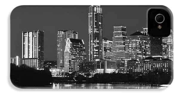 Austin Skyline At Night Black And White Bw Panorama Texas IPhone 4 / 4s Case by Jon Holiday