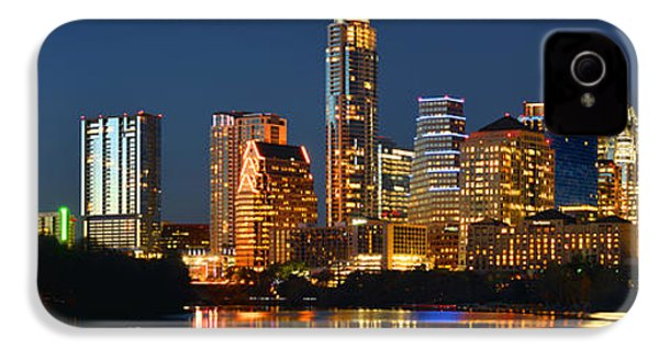 Austin Skyline At Night Color Panorama Texas IPhone 4 / 4s Case by Jon Holiday