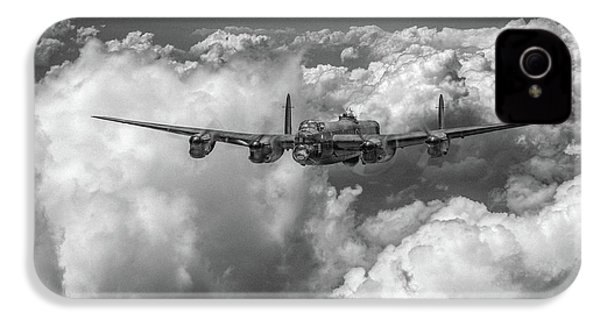 IPhone 4 Case featuring the photograph Avro Lancaster Above Clouds Bw Version by Gary Eason