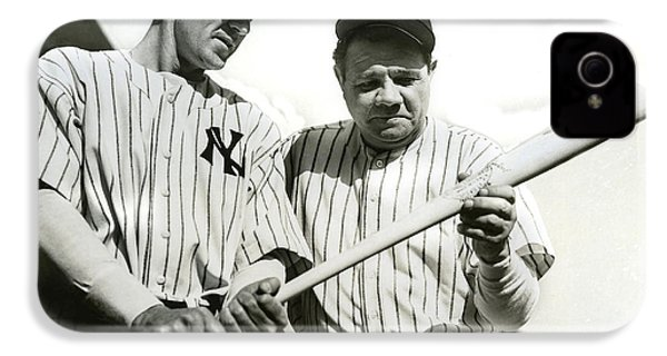 Babe Ruth And Lou Gehrig IPhone 4 Case by Jon Neidert