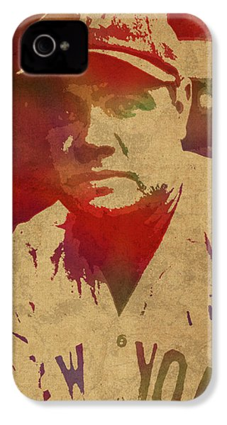 Babe Ruth Baseball Player New York Yankees Vintage Watercolor Portrait On Worn Canvas IPhone 4 Case by Design Turnpike