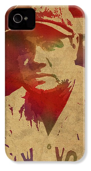 Babe Ruth Baseball Player New York Yankees Vintage Watercolor Portrait On Worn Canvas IPhone 4 Case