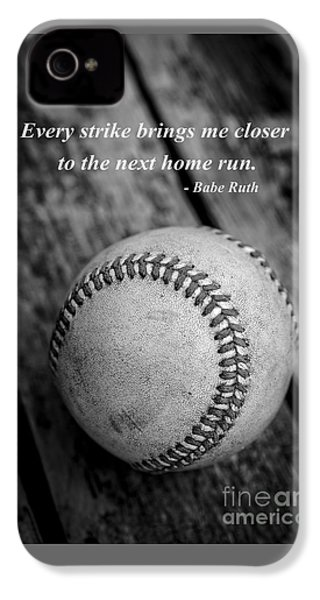 Babe Ruth Baseball Quote IPhone 4 Case