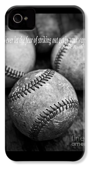 Babe Ruth Quote IPhone 4 Case by Edward Fielding