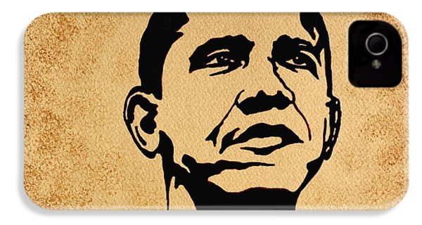 Barack Obama Original Coffee Painting IPhone 4 / 4s Case by Georgeta  Blanaru