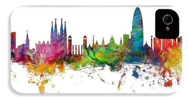 Barcelona Spain Skyline Panoramic IPhone 4 Case by Michael Tompsett