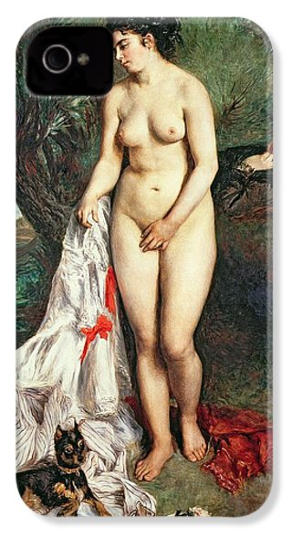 Bather With A Griffon Dog IPhone 4 Case by Pierrre Auguste Renoir