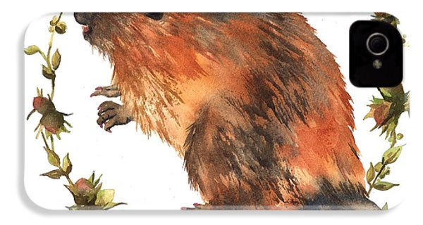 Beaver Painting IPhone 4 / 4s Case by Alison Fennell