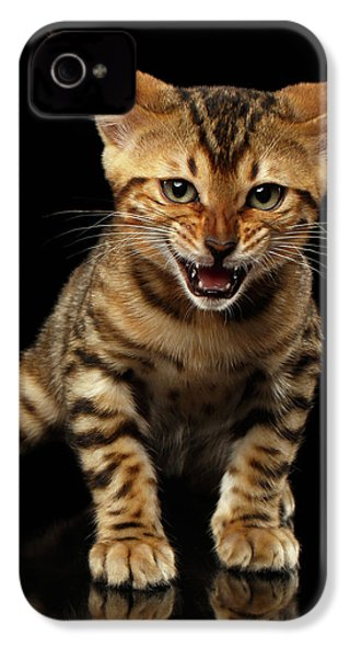 Bengal Kitty Stands And Hissing On Black IPhone 4 / 4s Case by Sergey Taran