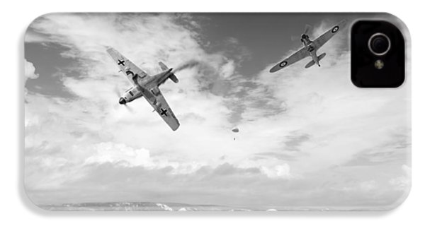 IPhone 4 Case featuring the photograph Bf109 Down In The Channel Bw Version by Gary Eason