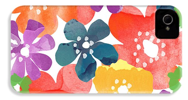 Big Bright Flowers IPhone 4 / 4s Case by Linda Woods