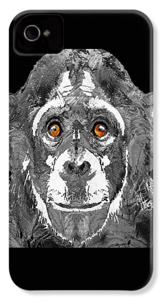 Black And White Art - Monkey Business 2 - By Sharon Cummings IPhone 4 / 4s Case by Sharon Cummings