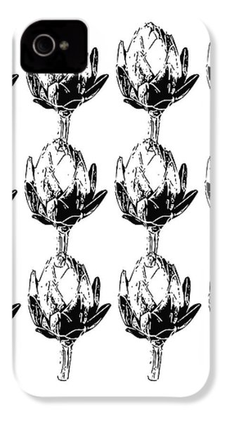 Black And White Artichokes- Art By Linda Woods IPhone 4 Case by Linda Woods