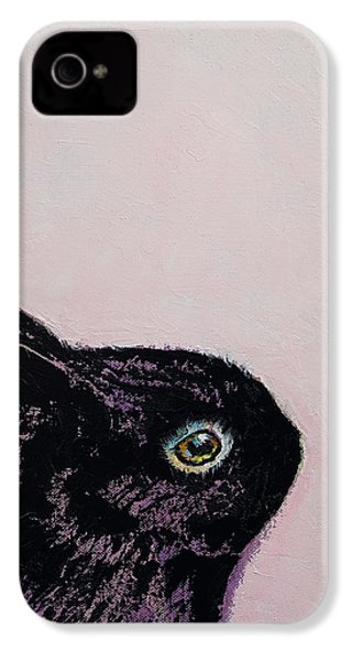 Black Bunny IPhone 4 Case by Michael Creese