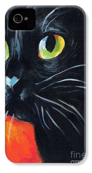 Black Cat Painting Portrait IPhone 4 Case