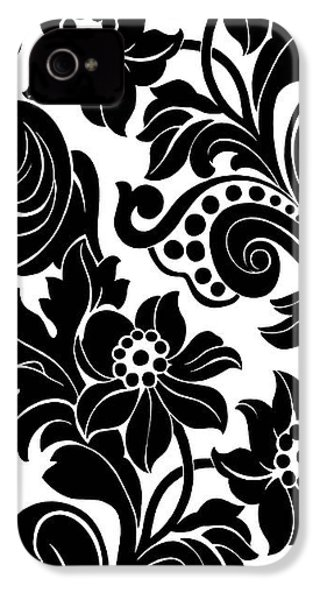 Black Floral Pattern On White With Dots IPhone 4 / 4s Case by Gillham Studios