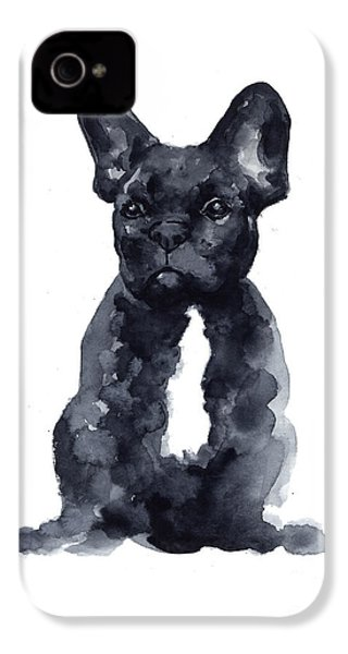 Black French Bulldog Watercolor Poster IPhone 4 / 4s Case by Joanna Szmerdt