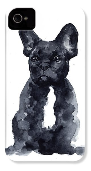 Black French Bulldog Watercolor Poster IPhone 4 Case by Joanna Szmerdt