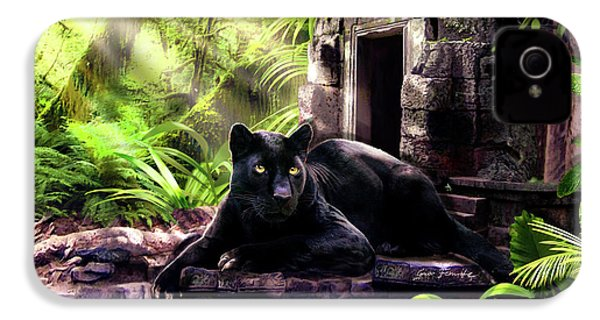 Black Panther Custodian Of Ancient Temple Ruins  IPhone 4 / 4s Case by Regina Femrite
