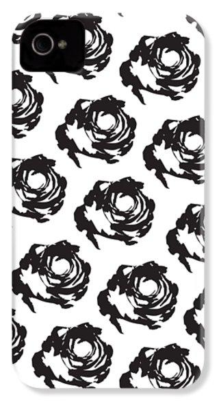 Black Rose Pattern IPhone 4 Case by Cortney Herron