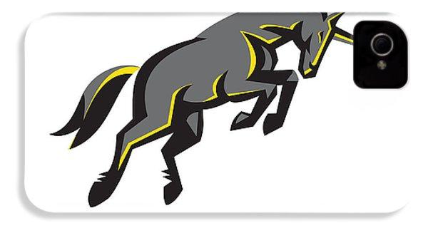 Black Unicorn Horse Charging Isolated Retro IPhone 4 Case