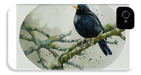 Blackbird Painting IPhone 4 / 4s Case by Alison Fennell