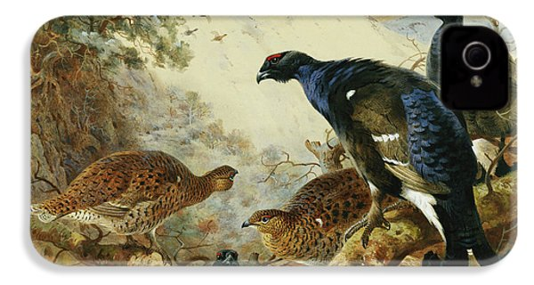 Blackgame Or Black Grouse IPhone 4 Case by Archibald Thorburn