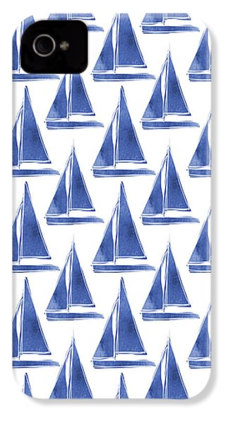 Blue And White Sailboats Pattern- Art By Linda Woods IPhone 4 Case by Linda Woods
