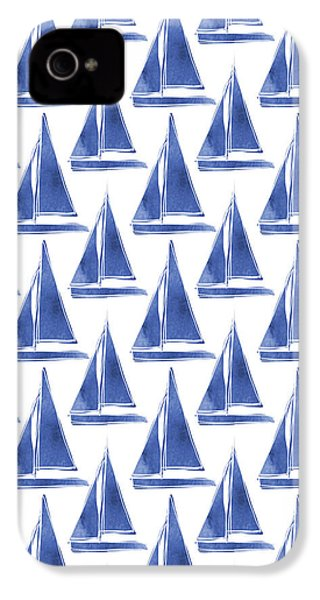 Blue And White Sailboats Pattern- Art By Linda Woods IPhone 4 / 4s Case by Linda Woods