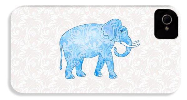 Blue Damask Elephant IPhone 4 Case by Antique Images