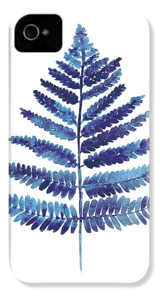 Blue Ferns Watercolor Art Print Painting IPhone 4 Case by Joanna Szmerdt
